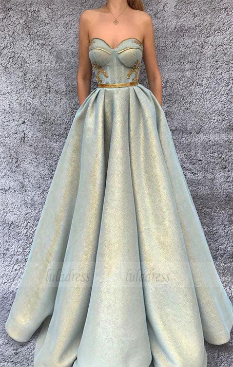 Chic A-Line Prom Dresses Sweetheart Modest  Long Prom Dress Evening Dresses,BD98616