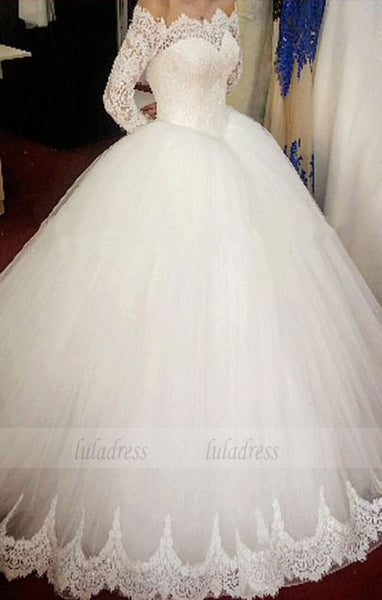 Elegant Off The Shoulder Wedding Dresses Ball Gowns Long Sleeves Bridal Gowns,BD98332