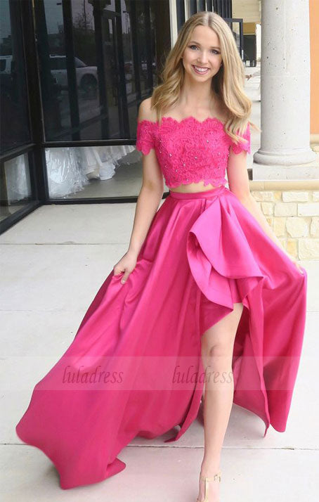 off the shoulder two piece  long prom dress with side slit,BD98702