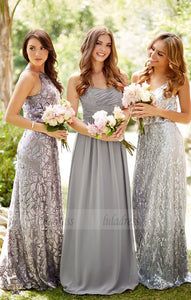 Strapless Grey Bridesmaid Dresses, Long Bling Bridesmaid Dresses, Sparkly Bridesmaid Dresses,BD98262