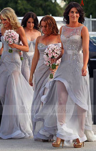 Grey Bridesmaid Gown,Gray Prom Dresses,Chiffon Prom Gown,Simple Bridesmaid Dress,BD98317