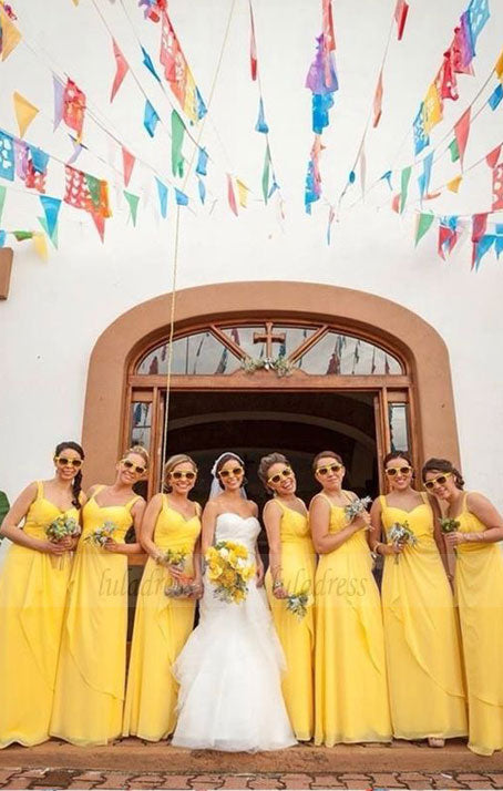 Sweetheart Yellow Chiffon Bridesmaid Dresses, Long Bridesmaid Dresses, Modest Bridesmaid Dresses,BD98111