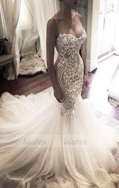 Wedding Gown,Princess Wedding Dresses Mermaid Wedding Dress with Spaghetti Straps,BD99295