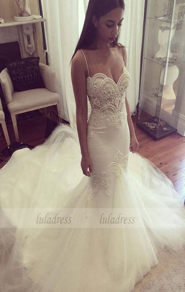 Wedding Gown,Princess Wedding Dresses Mermaid Wedding Dress with Spaghetti Straps,BD99294