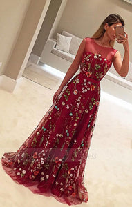 A-Line Crew Sweep Train Flower Print Burgundy Tulle Prom Dress with Belt,BD99816