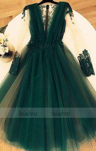 Cute A-line V-neck Tulle Long Sleeves Homecoming Dress Lace Appliques Prom Dress,BD99227