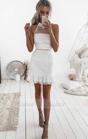 Sleeveless Short White Lace Homecoming Cocktail Dress,BD99487