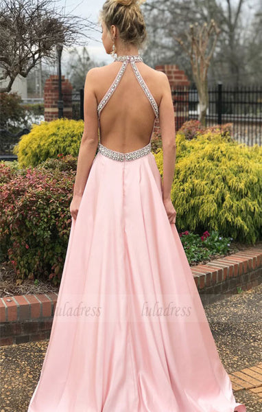 Elegant Beaded Pink Long Prom Dress with Open Back,BD98541