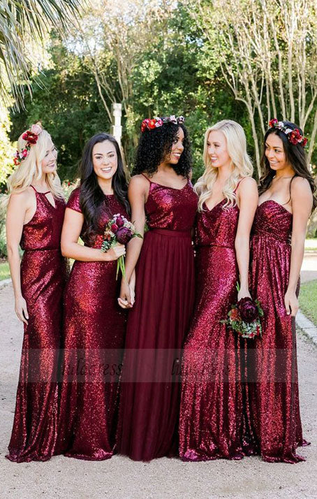 Mismatched Burgundy Bridesmaid Dresses, Sequin Bridesmaid Dresses, Long Bridesmaid Dresses Sequined,BD98108