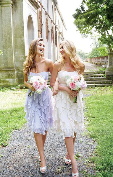 Knee Length Lilac Chiffon Bridesmaid Dresses, Mismatched Bridesmaid Dresses, Elegant Bridesmaid Dresses,BD98090