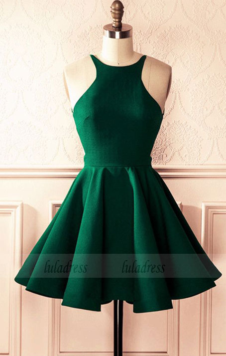 9b592f471ab Emerald Green Satin A-line Halter Top Open Back Homecoming Dresses 2018  Short Prom Cocktail ...