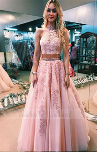 two piece  long prom dress,high neck long prom dress with open back,BD98701