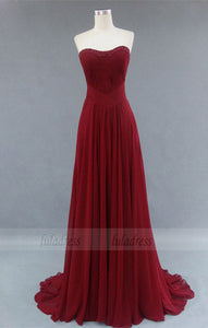 Burgundy Bridesmaid Gown,Pretty Prom Dresses,Chiffon Prom Gown, Simple Bridesmaid Dress,BD98316