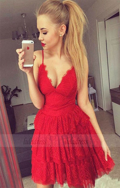 V-Neck Prom Dress,Red Homecoming Dresses,Tiered Prom Dress,Lace Homecoming Dress,Short Homecoming Dress,BD98444