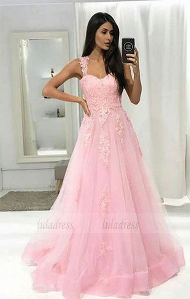 tulle long halter prom dress with appliques,BD99050