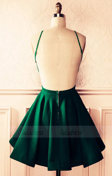Emerald Green Satin A-line Halter Top Open Back Homecoming Dresses 2018 Short Prom Cocktail Dress,BD98161
