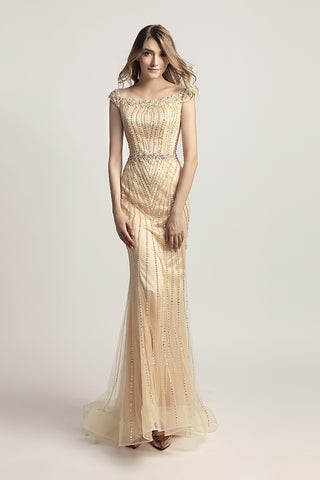 Champagne Mermaid Long Prom Dress Charming Beaded Formal Evening Dress, LX468