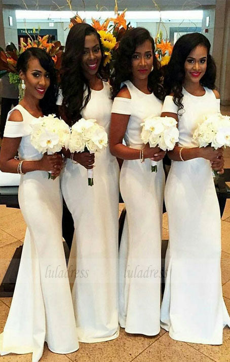 Charming Bridesmaid Dress,White Bridesmaid Dress,Sheath Bridesmaid Dress,BD99865