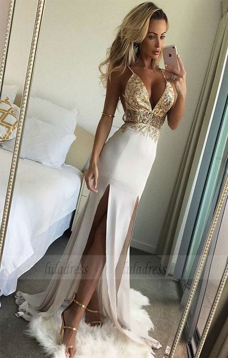 Chiffon Prom Dresses Mermaid Long V Neck Evening Dresses Beaded Formal Gowns,BD99888