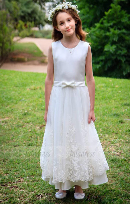 Beautiful Little Flower Girl Dresses with Bow Sash Jewel Satin Tulle Dress,BD99767