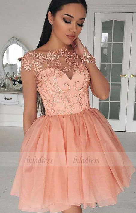Short Homecoming Dress with Appliques,BD99514