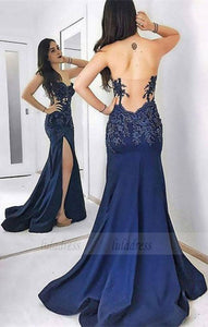 unique backless party dresses with appliques,BD98757