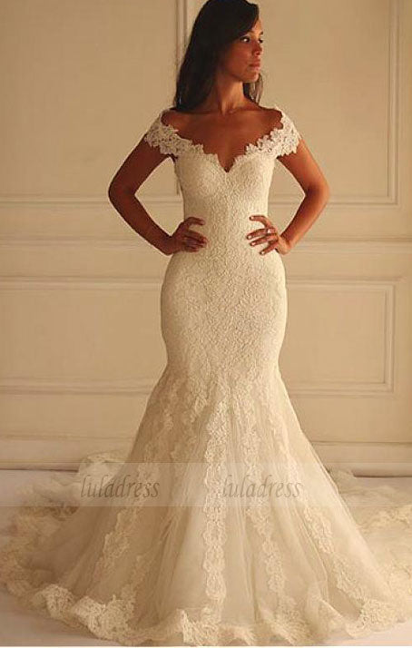 Stunning Tulle Off-the-shoulder Neckline Mermaid Wedding Dress With Lace Appliques,BD99621