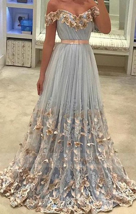 Tulle Off The Shoulder Evening Gowns Lace Embroidery Prom Dresses,BD99052