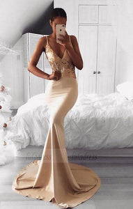 v neck long prom dress, mermaid evening dress,BD98193