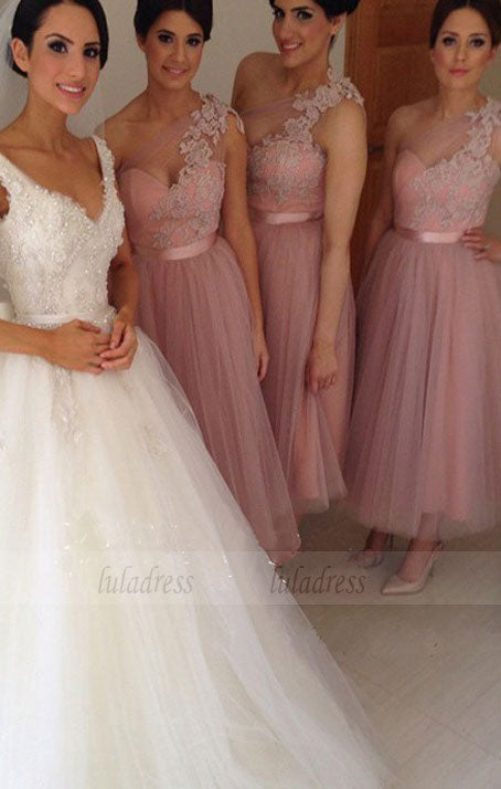 Short Bridesmaid Dress, Bridesmaid Dress, Lace Bridesmaid Dress, Tulle Bridesmaid Dress,BD98902