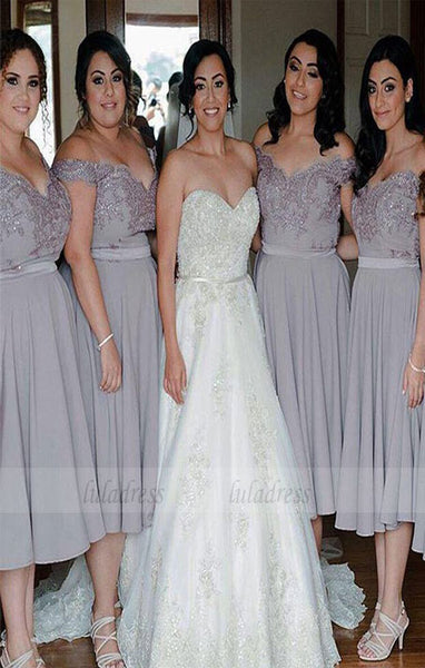 Off Shoulder Bridesmaid Dress,Knee-length bridesmaid dress,BD98880