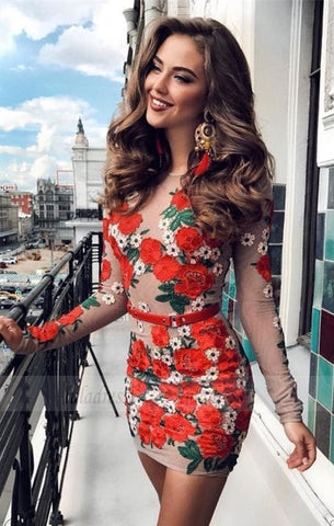 modest red long sleeves short prom dresses, unique bodycon short homecoming dresses with floral