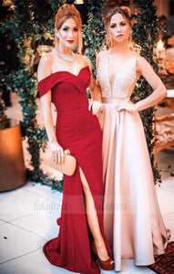 elegant off the shoulder burgundy mermaid long prom dress with side slit,BD98700