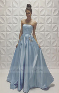A-line Baby-Blue Sleeveless Strapless Beads Newest Prom Dress,BD98465