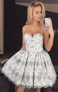 Sweetheart Homecoming Dresses,Short Homecoming Dress,Lace Homecoming Dress,BD98445