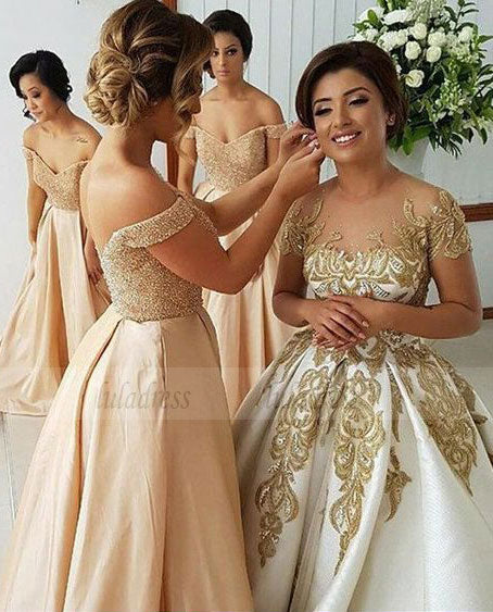 off the shoulder bridesmaid dresses, elegant beading bodice evening party dresses, a line satin prom dresses,BD98106