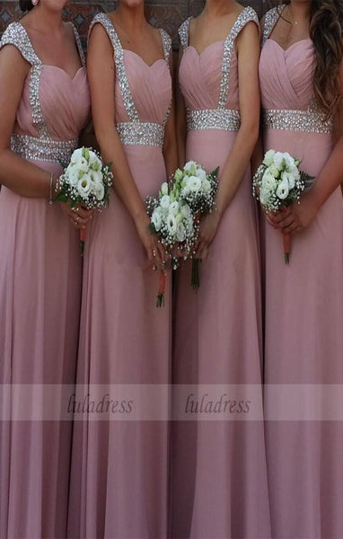 Cap Sleeves Bridesmaid Dresses With Beads,BD99308