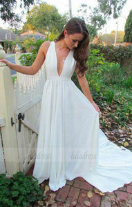 A-Line Deep V-Neck Sweep Train White Chiffon Prom Dress,BD99818