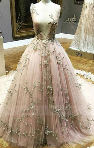 Unique A-Line Deep V-Neck Tulle Long Prom/Evening Dress with Appliques,BD98676