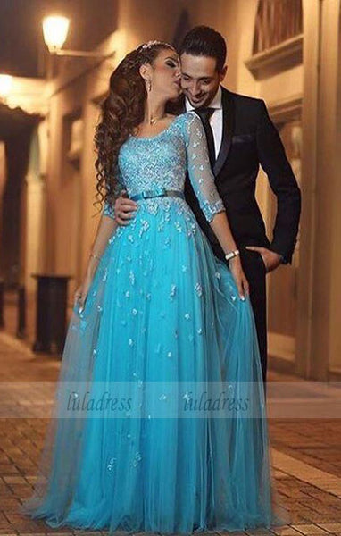 Long Prom Dress, Tulle Prom Dress, Blue Prom Dress, A-line Prom Dress,BD99328