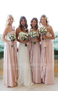 Strapless Chiffon Bridesmaid Dresses,Modest Bridesmaid Dresses,BD98086