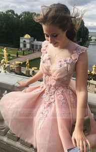 Elegant Homecoming Dresses,Pink Prom Dresses,Flower Prom Dress,Cute Party Dresses,Semi Formal Dresses