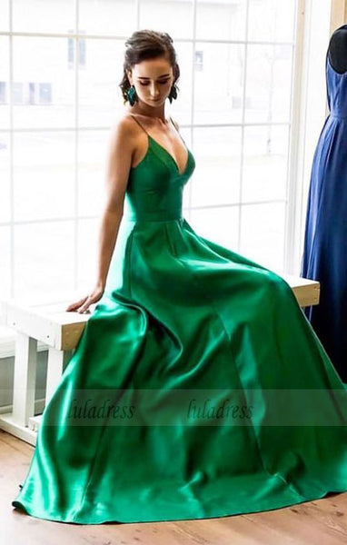 straps long prom dress, 2018 prom dress, simple A-line green long party dress,BD98699