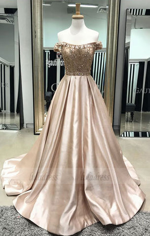 off the shoulder long prom dress, A-line beaded  prom dress,BD98055