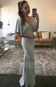Fashion Mermaid V-Neck Satin Long Prom dress,BD98188