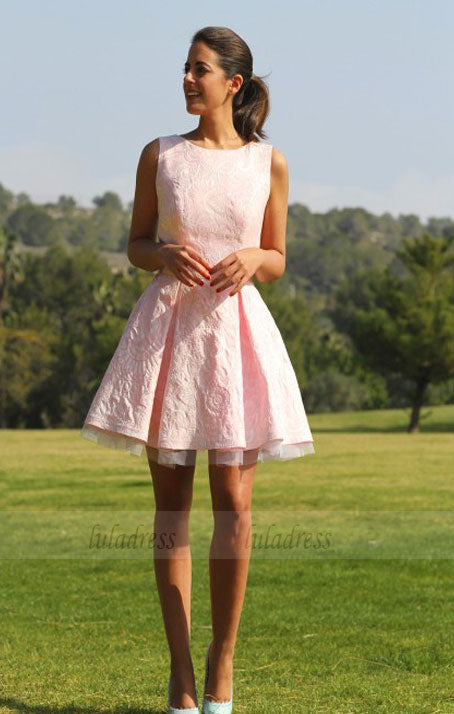 Lace Homecoming Dress,Pink Homecoming Dresses