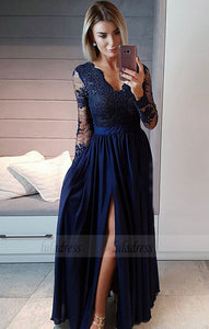 v neck long prom dresses with sleeves, unique long sleeves evening dresses with split,BD98973