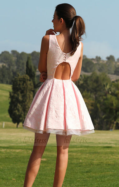 Lace Homecoming Dress,Pink Homecoming Dresses,BD98435