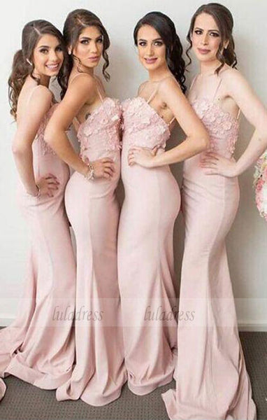 Stylish Mermaid Long Bridesmaid Dress with Appliques,BD99340