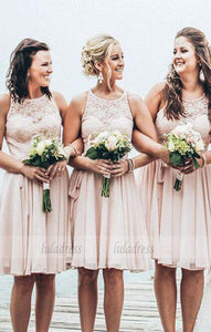 Simple A-Line Chiffon Short Bridesmaid Dress with Lace,BD9961